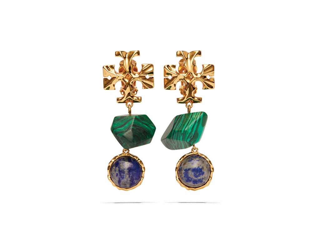 11 20 S1 Tory Burch Roxanne Semi Precious Double Drop Earring Rolled Brass Malachite Lapis