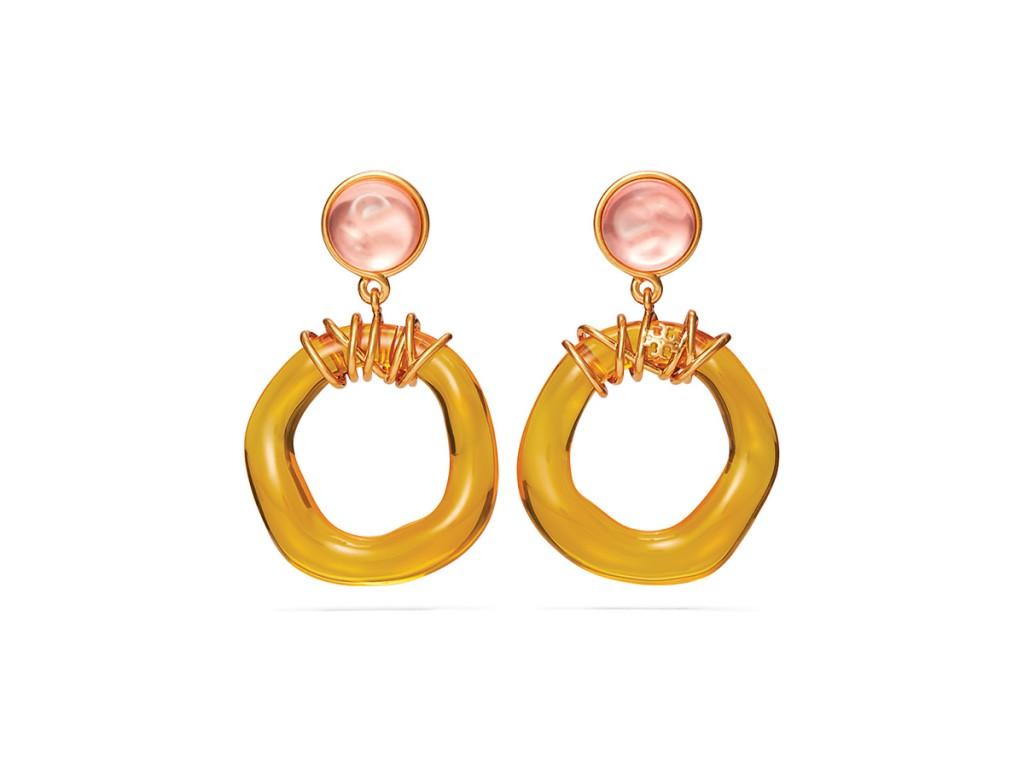 11 20 S1 Tory Burch Roxanne Wrapped Doorknocker Earring Rolled Brass Pink Yellow