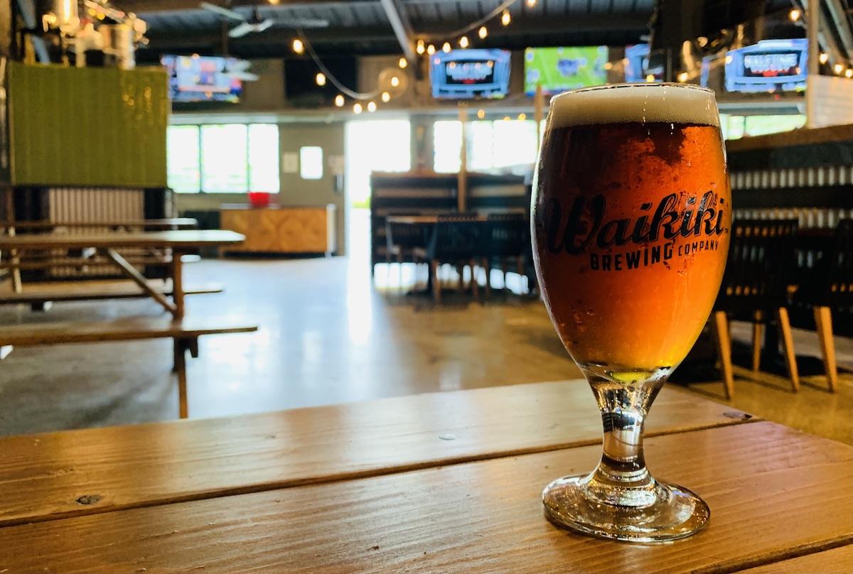 glass of beer at new waikiki brewing co. waikiki pub