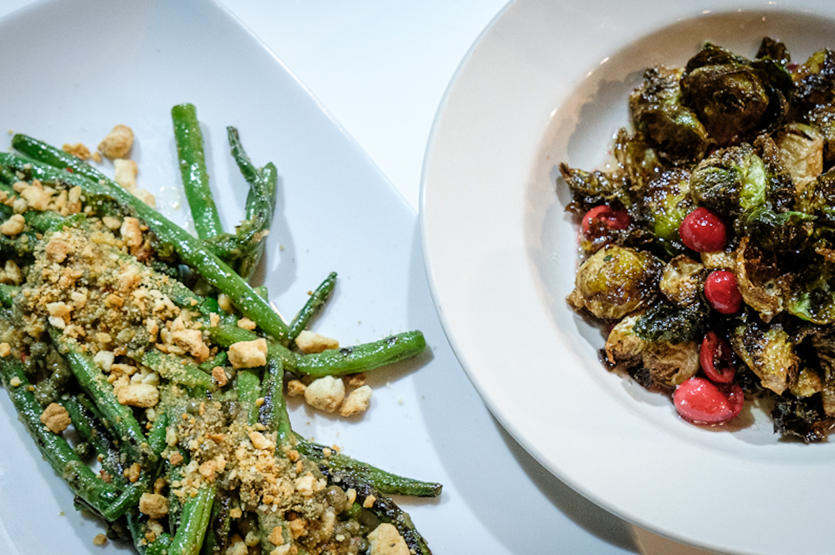 long beans with mac nut-parmesan crumble and brown butter brussels sprouts with cranberries