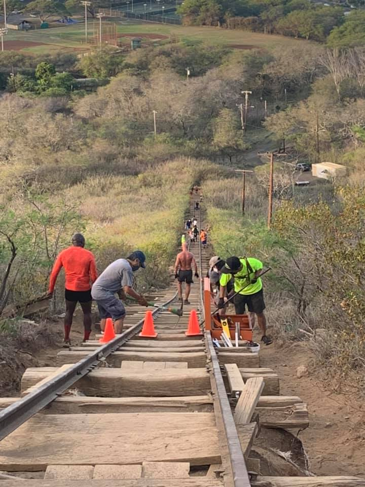 Koko Crater Repairs With Hikers