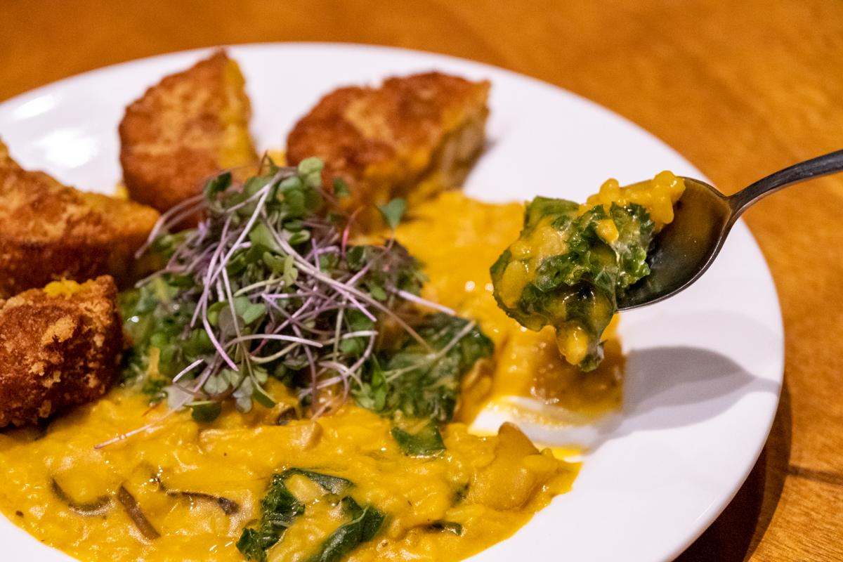 creamy golden vegan mushroom risotto with crispy squash-mushroom croquettes