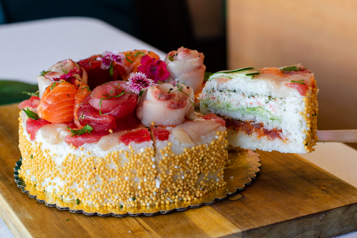 aloha cones sushi cake slice