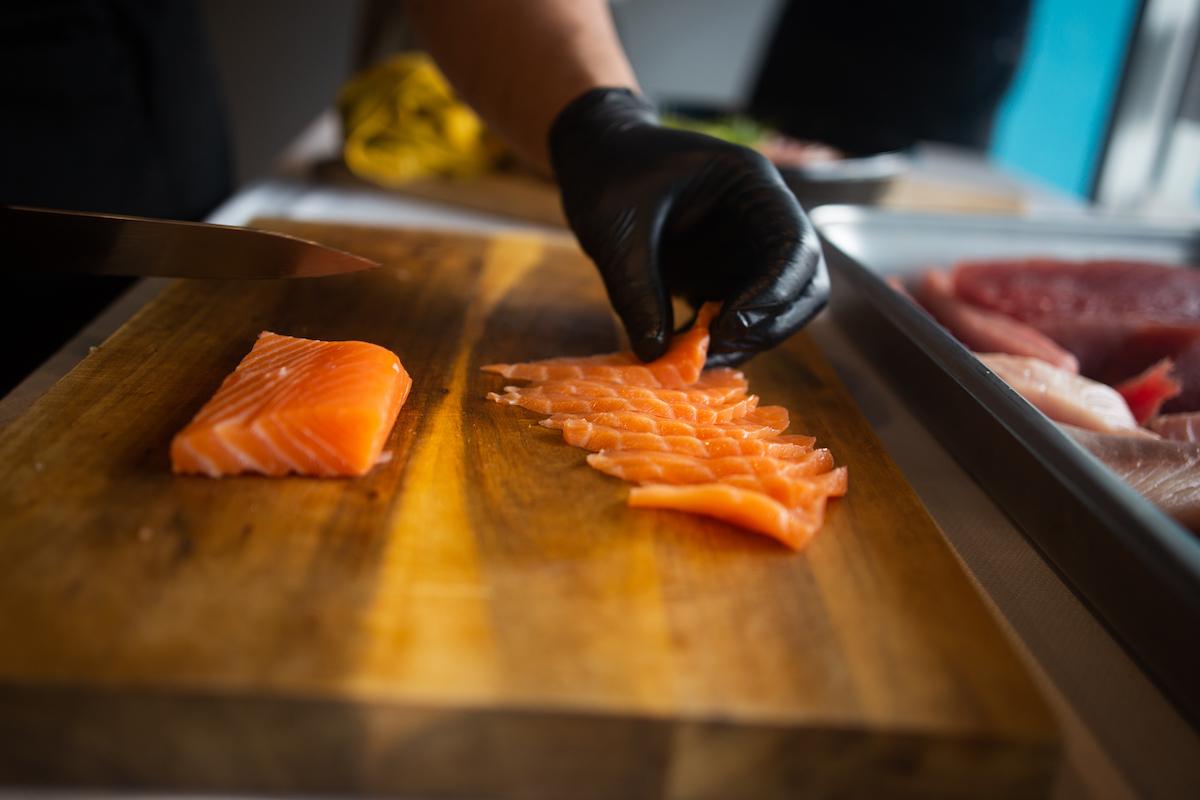 aloha cones sushi cake salmon slices