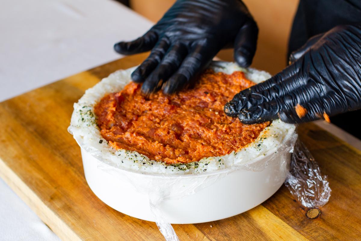 aloha cones sushi cake spicy ahi layer
