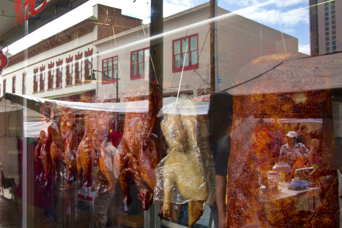 roast ducks hang in the window of a chinatown shop