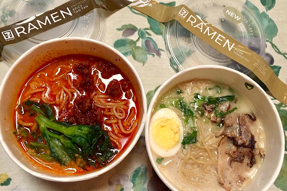 7 11 pork tonkotsu and spicy tan tan Ramen