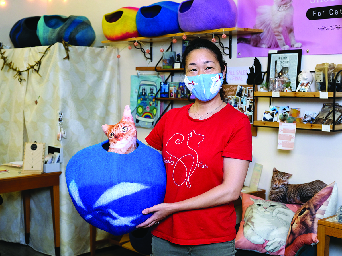 Snobby Cat Owner Satomi Arbeit With A Natural Wool Cat Cave From Nepal