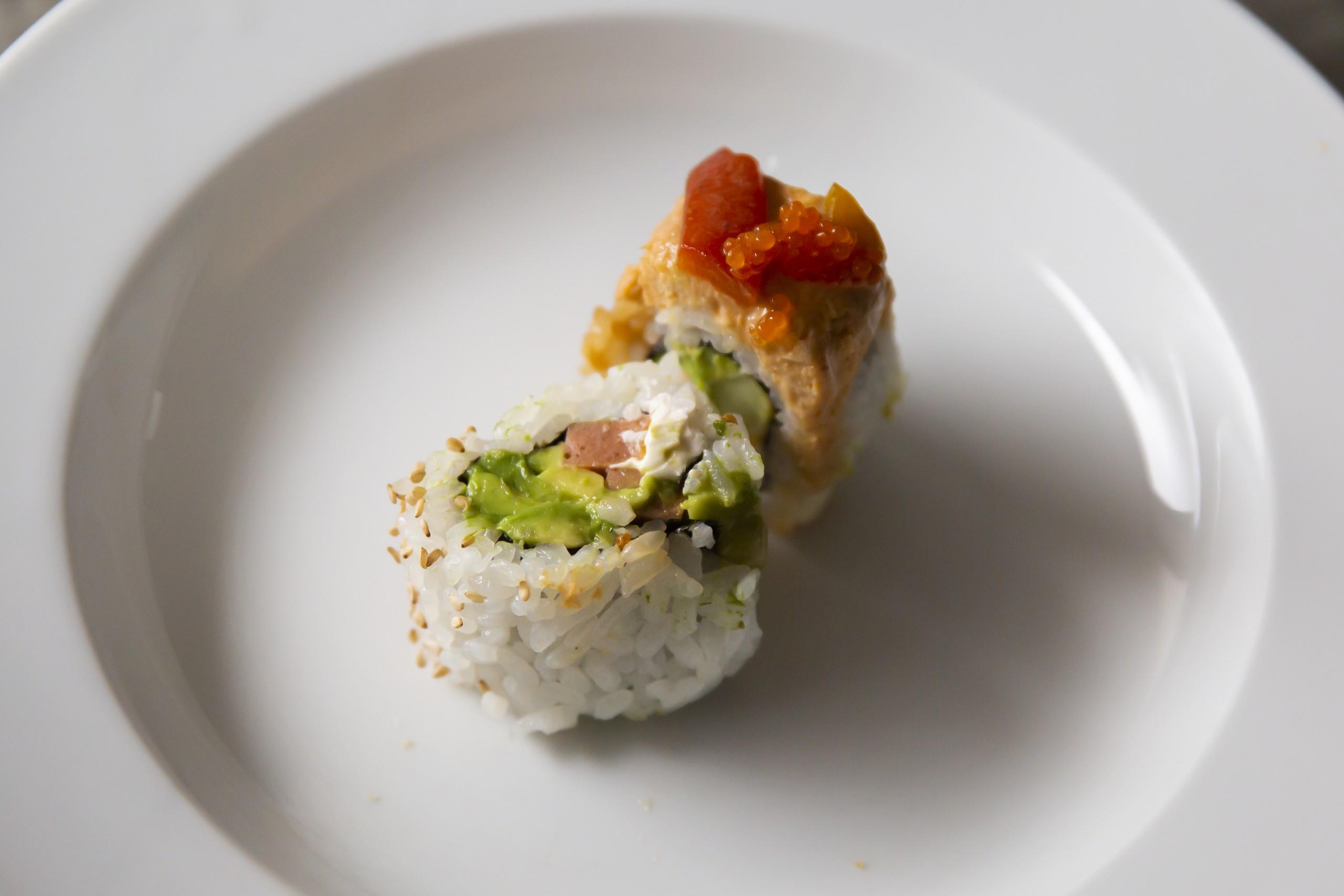 Philadelphia And Pokai sushi rolls at tane vegan izakaya