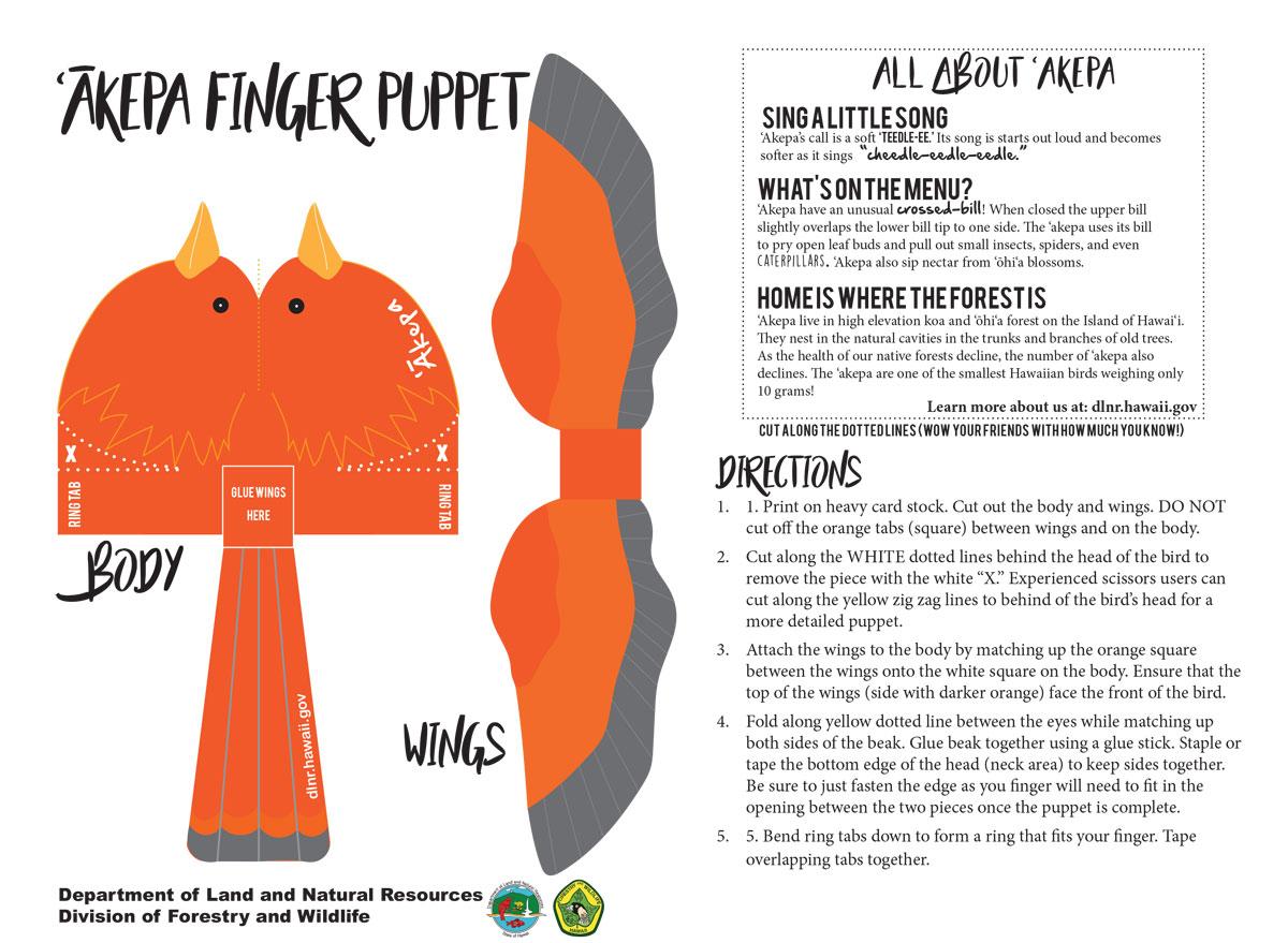 Akepa Finger Puppet 1200