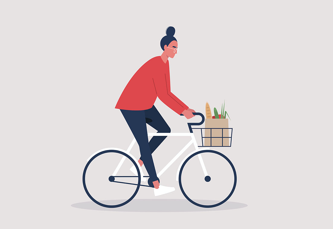Illustration of a woman on a bike