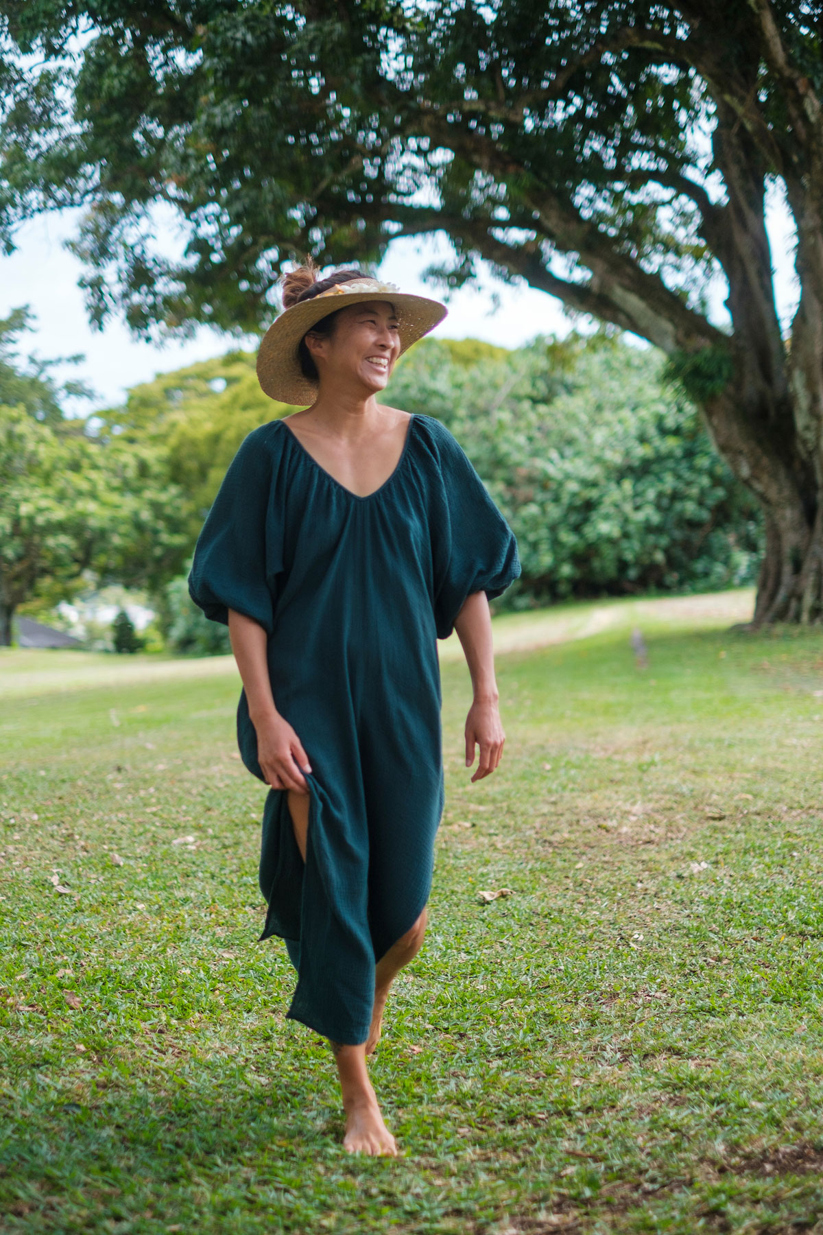 Woman in a park in a Gillia Dress
