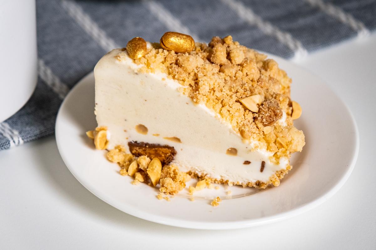 Slice of Caramel Banana Butterfinger Ice Cream Pie