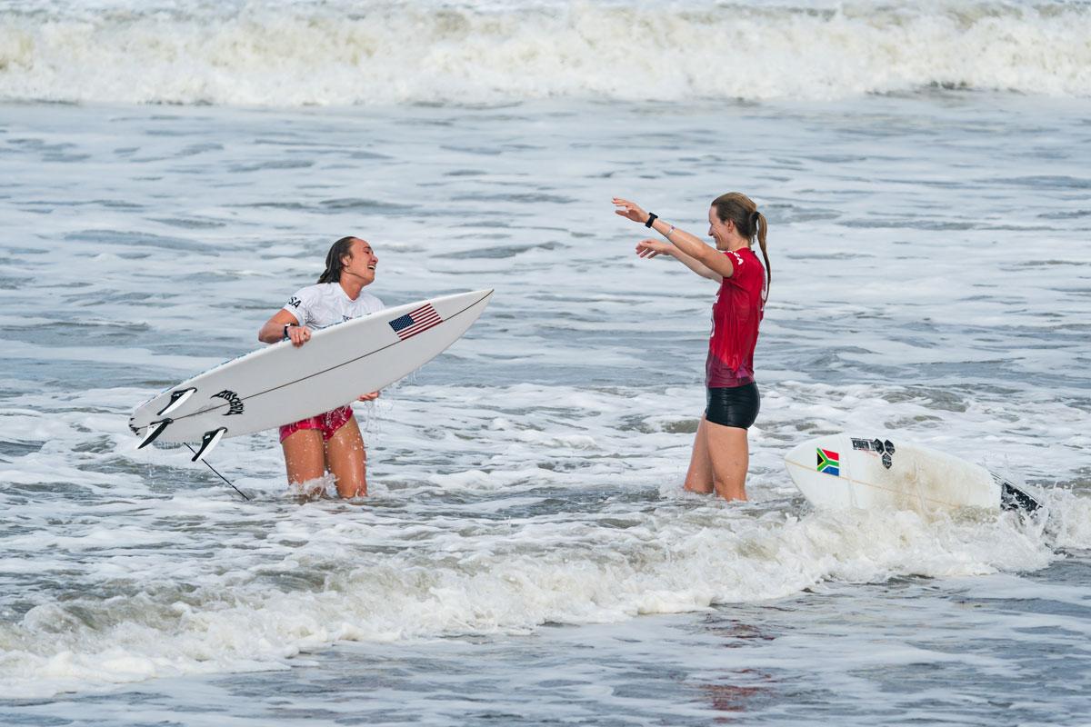 Carissa Moore Bianca Buitendag Tokyo Olympics Photo International Surfing Association Ben Reed
