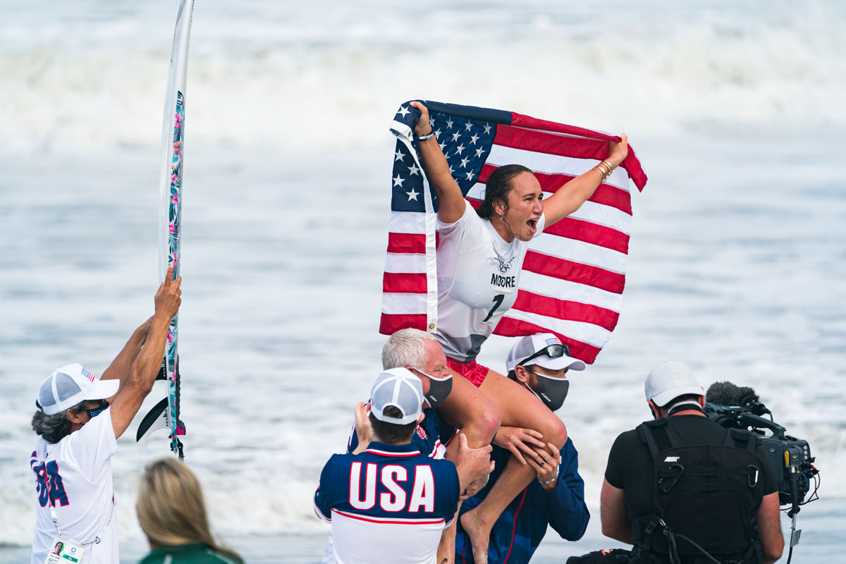 Carissa Moore With Flag Tokyo Olympics Photo International Surfing Association Ben Reed Gold Medal