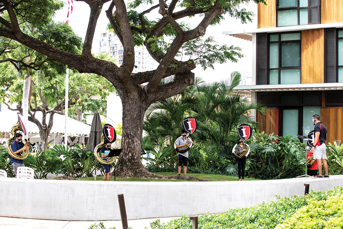2021 Psg Courtesy Of Iolani School 2021 Band In Courtyard