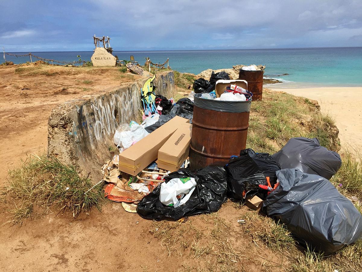 Overflowing Trash At Kaena Point State Park